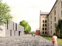 Ein moderner Magazin-Neubau  wird die historischen Lagergebäude ergänzen, Entwurf und Visualisierung: Scheidt Kasprusch Gesellschaft von Architekten mbH