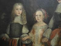 Gruppenportrait von Willem III. Prinz von Oranien mit Vettern und Basen, Detail der Vorderseite: umfangreiche Schädigungen der originalen Malschicht, die von Übermalungen bedeckt werden
