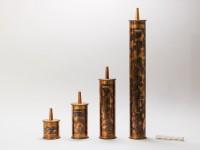 Historische Resonatoren-Reihe nach Schäfer, von 1902, welche für die Messung der Teilton-Frequenzen von zusammengesetzten Klängen verwendet wurden. Foto: Lars Engels