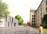 Ein moderner Magazin-Neubau ergänzt die historischen Lagergebäude, Entwurf und Visualisierung: Scheidt Kasprusch Gesellschaft von Architekten mbH