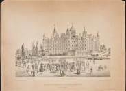 Theodor Boehden, Blick auf das Schloss von der Stadtseite, Lithographie, keine Größenangaben in M+, Foto D. Klose © Staatliches Museum Schwerin