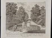 Dietrich Findorff, Die beiden Kaskaden und der »Sprung« im Schlosspark, 1767/1770, Radierung, 206 x 240 mm, Foto D. Klose © Staatliches Museum Schwerin