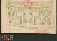 Planausschnitt: Gartenanlagen u. Lustschloss; Grundriss Unbekannter Künstler Papier, Kolorierte Federzeichnung Blattmaß: 26,5 x 42 cm