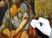 Hochaltar des Merseburger Doms während der Reinigung, Detail
