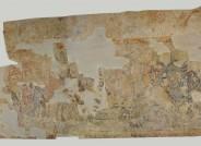 Abgenommenes Wandgemälde mit der Darstellung einer Reiterschlacht vor der Restaurierung, 13. Jh., Deutsches Burgenmuseum Veste Heldburg