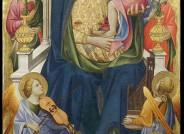 Marientriptychon des Gherardo Starnina, um 1400. In der normalen Fotografie könnte man die Flecken auf dem blauen Mantel der Jungfrau Maria (unterhalb des linken Knies) für Pigmentveränderungen halten. Alle Fotos: Opificio delle Pietre Dure Florenz