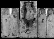 Geröntgt wurde das Triptychon im Opificio delle Pietre Dure auch. Die horizontale Reihe heller Punkte zeigt an, wo der Querbalken angenagelt wurde. Über die Nagelköpfe wurden Holzplättchen gelegt, damit eine mögliche Oxidation keine Auswirkungen auf die Malfläche hat; daher die quadratischen Umrandungen der runden Punkte.