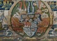 Brüsseler Manufaktur, Webteppich aus dem Besitz Julius Echters, spätes 16. Jahrhundert, Detail mit Echterwappen, Katrineholm (Schweden) , Foto: Schloss Ericsberg,