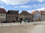 Standort des neuen Museums Angermünde in Ortsmitte, die beiden historischen Häuser von 1695 vor der Sanierung, Foto: Carolin Vogel