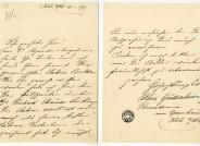 """Brief von Alice Guszalewicz an den Theaterjournalisten und Herausgeber Heinrich Stümcke vom 10. Januar 1907, in dem sie ihm davon berichtet, dass Richard Strauss sie als """"seine beste Salome Vertreterin bezeichnet hat""""."""