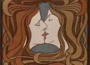 Peter Behrens, Der Kuss, aus: Zeitschrift PAN, IV Jg. Heft 2, 1898, Farbholzschnitt; © Kunstmuseen Krefeld
