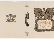 """Peter Behrens, Einband und Buchschmuck zu """"Der Bunte Vogel. Ein Kalenderbuch von Julius Otto Bierbaum"""", Berlin/Leipzig, 1899; Slg. Kunstmuseen Krefeld"""