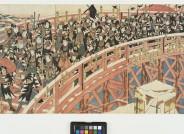 Utagawa Kuniyasu, Alle 47 treuen Vasallen auf dem Rückmarsch über die Ryōgoku-Brücke, ca. 1825, Inv. V/2035, Foto: Axel Kilian, Ethnologische Sammlung Museum Natur und Mensch, Städtische Museen Freiburg.