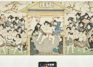 Utagawa Kuniyasu, Kinder spielen Sumō-Ringen, 1830er Jahre, Inv. V/2041, Foto: Axel Kilian, Ethnologische Sammlung Museum Natur und Mensch, Städtische Museen Freiburg.
