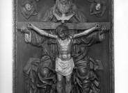 Schule von Ferrara, Dreieinigkeit, um 1460, Keramik, gefasst, Zustand vor 1945 © Staatliche Museen zu Berlin, Skulpturensammlung und Museum für Byzantinische Kunst