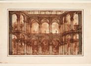Entwurf für eine Bühnendekoration, Architektur eines Palasthofes; Feder, laviert; Ferdinando Galli-Bibiena; 1.H. 18. Jh.; 291 x 445 mm; Inv.Nr. IV 4307 [F 280] (Deutsches Theatermuseum München, Graphische Sammlung