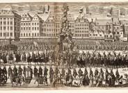 Huldigungszug zu Ehren Kaiser Karl VI in Wien 1712; Kupferstich; Andreas Pfeffel n. J. A. Hakhoffer; 1712; 432 x 1158 mm; Inv.Nr. III 2792 [F 8602] (Deutsches Theatermuseum München, Graphische Sammlung)