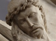 Riminialtar, um 1430, Detail vor der Restaurierung, Foto: Liebighaus