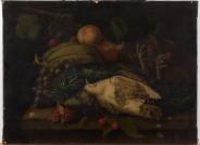 Wüstenfeld, Totes Geflügel und Früchte, Tafelbild, Stillleben, 1845, Öl auf Leinwand (doubliert), Copyright: Historisches Museum Frankfurt, Fotograf: Horst Ziegenfusz