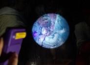 Untersuchung mittels UV- Handlampe: ungleichmäßiger Erhaltungszustand des Firnisüberzugs mit sich dunkel abzeichnenden späteren Retuschen