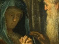 Detail vor der Restaurierung: Rembrandt, Simeon und Hanna im Tempel, 1627, HK-88Foto: Silvia Castro